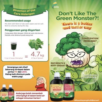 [Raya Promo] 2 x Surya Chlorophyll 500ml (Lychee & Peach, Exp:  Jul'20) + Free Gift worth RM10